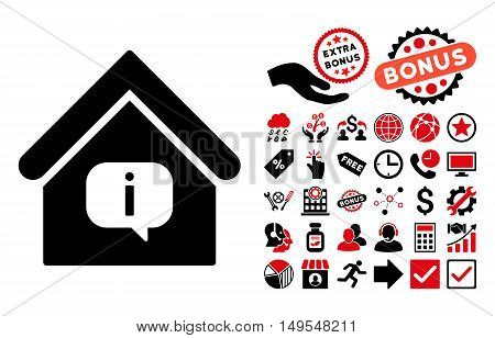 Hint Building pictograph with bonus design elements. Glyph illustration style is flat iconic bicolor symbols, intensive red and black colors, white background.