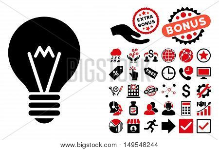 Hint Bulb icon with bonus clip art. Glyph illustration style is flat iconic bicolor symbols, intensive red and black colors, white background.