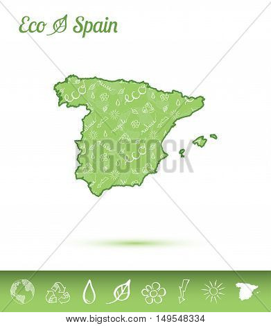 Spain Eco Map Filled With Green Pattern. Green Counrty Map With Ecology Concept Design Elements. Vec