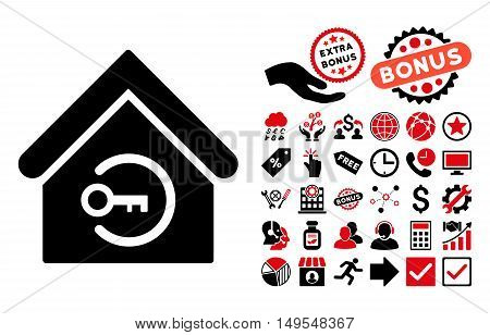 Home Login pictograph with bonus symbols. Glyph illustration style is flat iconic bicolor symbols, intensive red and black colors, white background.