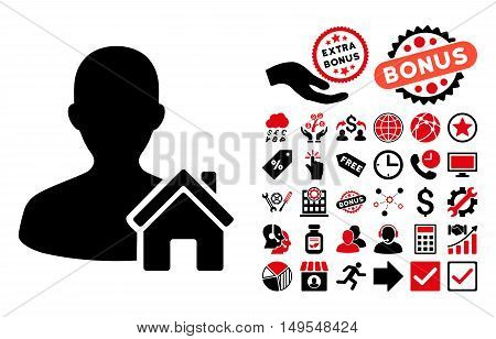 Home User pictograph with bonus pictograph collection. Glyph illustration style is flat iconic bicolor symbols, intensive red and black colors, white background.