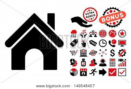 Home icon with bonus pictogram. Glyph illustration style is flat iconic bicolor symbols, intensive red and black colors, white background.