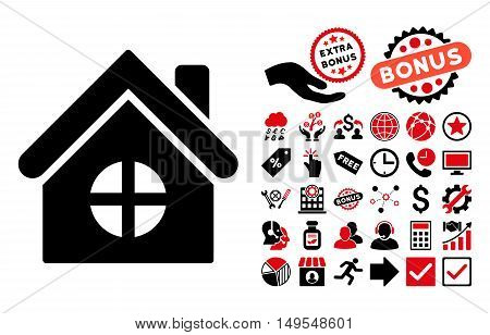 House Building icon with bonus pictogram. Glyph illustration style is flat iconic bicolor symbols, intensive red and black colors, white background.