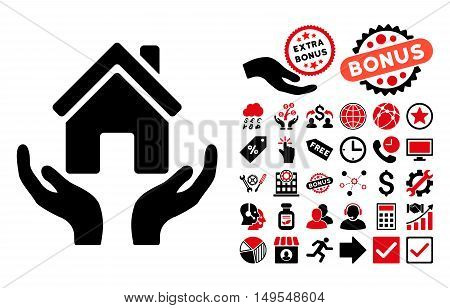House Care Hands icon with bonus design elements. Glyph illustration style is flat iconic bicolor symbols, intensive red and black colors, white background.