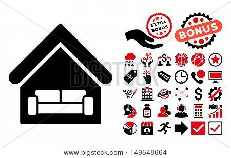 House Interrior icon with bonus symbols. Glyph illustration style is flat iconic bicolor symbols, intensive red and black colors, white background.