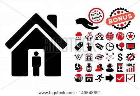 House Owner icon with bonus icon set. Glyph illustration style is flat iconic bicolor symbols, intensive red and black colors, white background.