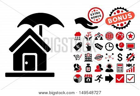 House under Umbrella pictograph with bonus images. Glyph illustration style is flat iconic bicolor symbols, intensive red and black colors, white background.