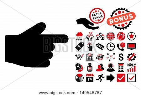 Index Finger pictograph with bonus elements. Glyph illustration style is flat iconic bicolor symbols, intensive red and black colors, white background.