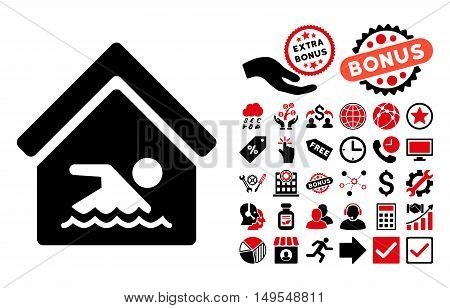 Indoor Water Pool pictograph with bonus icon set. Glyph illustration style is flat iconic bicolor symbols, intensive red and black colors, white background.