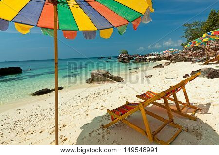 Colorful chairs on tropical beach ,Phuket Province.Thailand