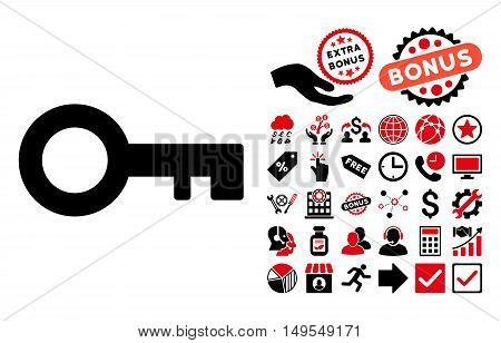 Key icon with bonus icon set. Glyph illustration style is flat iconic bicolor symbols, intensive red and black colors, white background.
