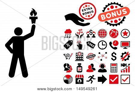Leader With Freedom Torch icon with bonus icon set. Glyph illustration style is flat iconic bicolor symbols, intensive red and black colors, white background.