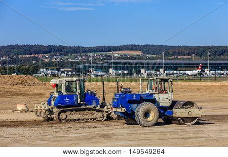 Kloten, Switzerland - 29 September, 2016: construction works in the Zurich Airport. The Zurich Airport, also known as the Kloten Airport, is the largest international airport of Switzerland and the principal hub of Swiss International Air Lines.