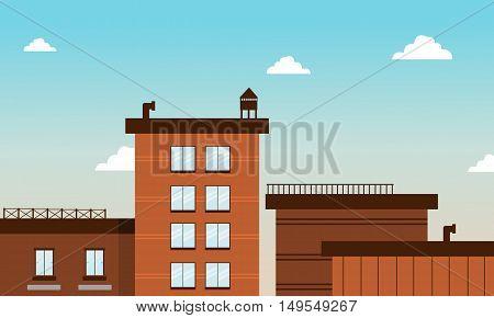 Building in cartoon flat style vector art illustration