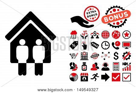Living Persons icon with bonus icon set. Glyph illustration style is flat iconic bicolor symbols, intensive red and black colors, white background.