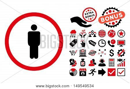 Man pictograph with bonus icon set. Glyph illustration style is flat iconic bicolor symbols, intensive red and black colors, white background.