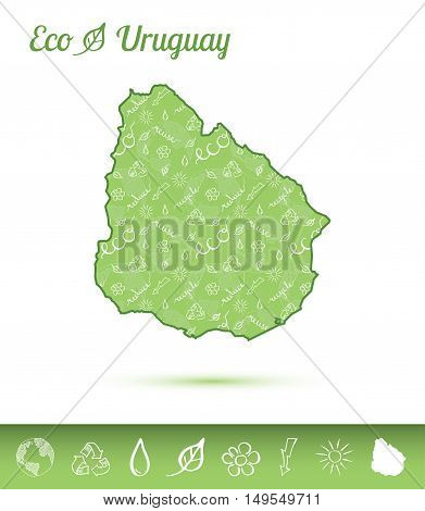 Uruguay Eco Map Filled With Green Pattern. Green Counrty Map With Ecology Concept Design Elements. V