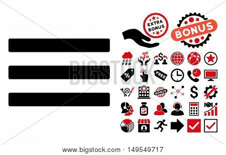 Menu icon with bonus pictures. Glyph illustration style is flat iconic bicolor symbols, intensive red and black colors, white background.