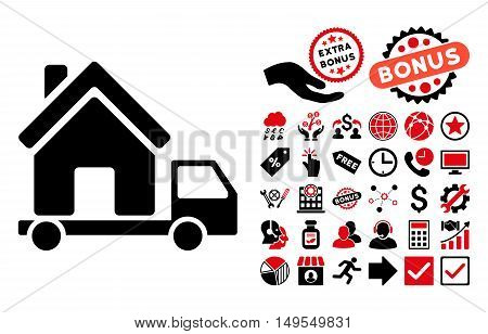 Mobile House icon with bonus design elements. Glyph illustration style is flat iconic bicolor symbols, intensive red and black colors, white background.