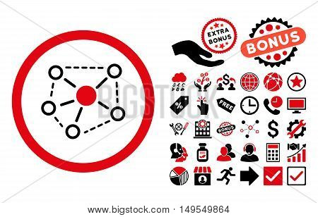 Molecule Links pictograph with bonus elements. Glyph illustration style is flat iconic bicolor symbols, intensive red and black colors, white background.