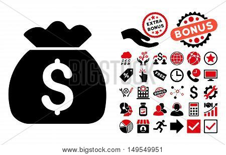 Money Bag icon with bonus icon set. Glyph illustration style is flat iconic bicolor symbols, intensive red and black colors, white background.