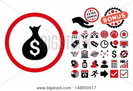Money Sack icon with bonus pictures. Glyph illustration style is flat iconic bicolor symbols, intensive red and black colors, white background.