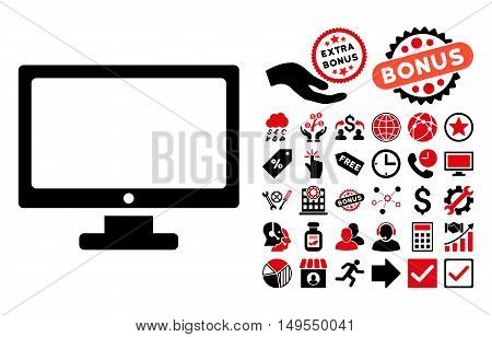 Monitor pictograph with bonus symbols. Glyph illustration style is flat iconic bicolor symbols, intensive red and black colors, white background.