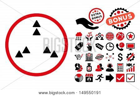 Move Out pictograph with bonus pictures. Glyph illustration style is flat iconic bicolor symbols, intensive red and black colors, white background.