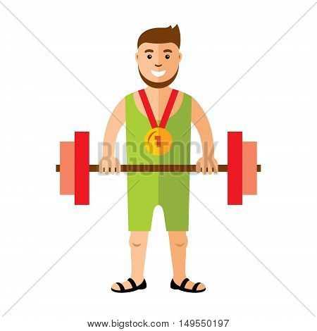 Strong and handsome man lifting weights. Isolated on white background