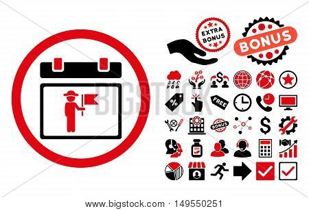 National Holiday Day pictograph with bonus pictograph collection. Glyph illustration style is flat iconic bicolor symbols, intensive red and black colors, white background.
