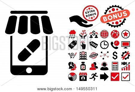 Online Pharmacy pictograph with bonus pictures. Glyph illustration style is flat iconic bicolor symbols, intensive red and black colors, white background.