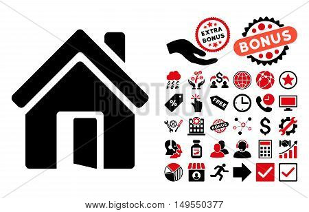 Open House Door pictograph with bonus pictures. Glyph illustration style is flat iconic bicolor symbols, intensive red and black colors, white background.