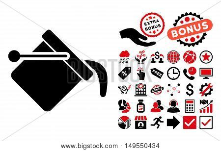 Paint Bucket pictograph with bonus pictogram. Glyph illustration style is flat iconic bicolor symbols, intensive red and black colors, white background.