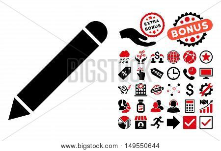 Pencil icon with bonus elements. Glyph illustration style is flat iconic bicolor symbols, intensive red and black colors, white background.