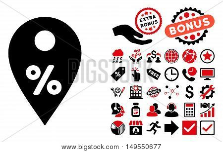 Percent Map Marker pictograph with bonus pictograph collection. Glyph illustration style is flat iconic bicolor symbols, intensive red and black colors, white background.