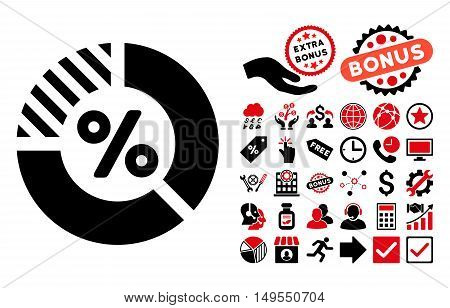 Percent icon with bonus images. Glyph illustration style is flat iconic bicolor symbols, intensive red and black colors, white background.