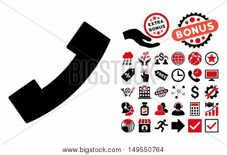Phone Receiver pictograph with bonus pictograph collection. Glyph illustration style is flat iconic bicolor symbols, intensive red and black colors, white background.