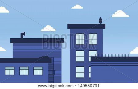 Blue buildings skyline landscape of vector illustration