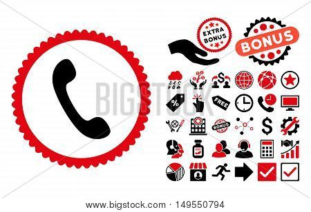 Phone pictograph with bonus images. Glyph illustration style is flat iconic bicolor symbols, intensive red and black colors, white background.