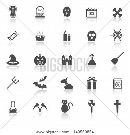 Halloween icons with reflect on white background, stock vector