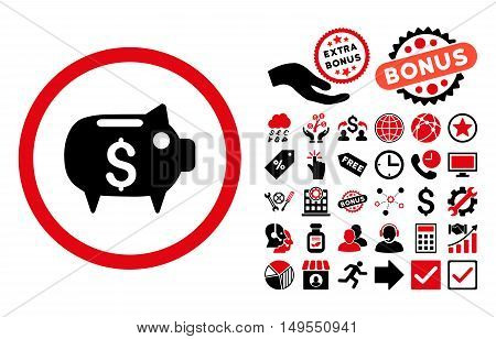 Piggy Bank pictograph with bonus images. Glyph illustration style is flat iconic bicolor symbols, intensive red and black colors, white background.