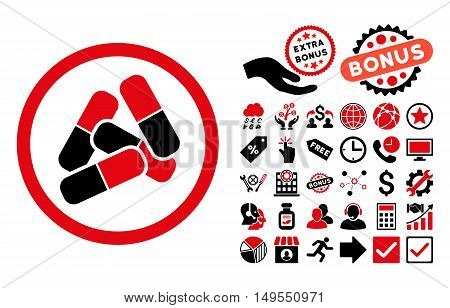 Pills pictograph with bonus images. Glyph illustration style is flat iconic bicolor symbols, intensive red and black colors, white background.