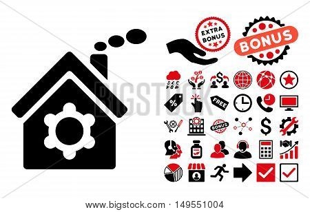 Plant Building pictograph with bonus icon set. Glyph illustration style is flat iconic bicolor symbols, intensive red and black colors, white background.