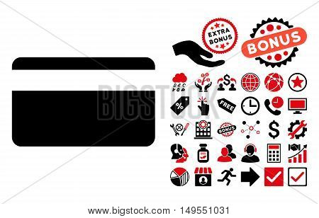 Plastic Card pictograph with bonus pictogram. Glyph illustration style is flat iconic bicolor symbols, intensive red and black colors, white background.