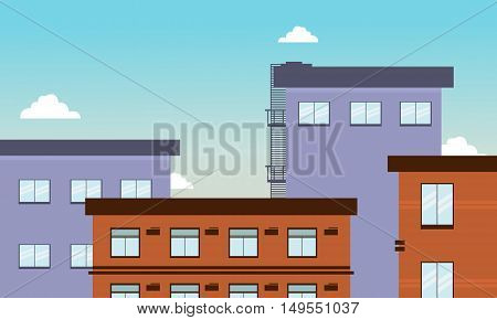 Flat vector of big buildings illustration collection