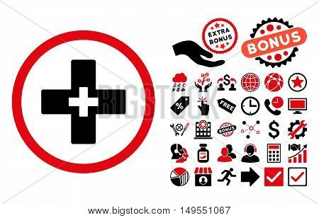 Plus icon with bonus elements. Glyph illustration style is flat iconic bicolor symbols, intensive red and black colors, white background.