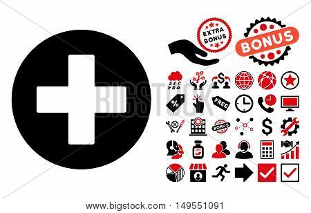 Plus icon with bonus design elements. Glyph illustration style is flat iconic bicolor symbols, intensive red and black colors, white background.