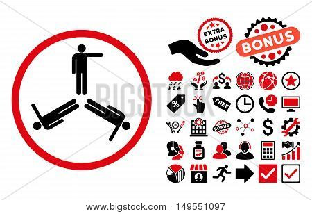 Pointing Men pictograph with bonus icon set. Glyph illustration style is flat iconic bicolor symbols, intensive red and black colors, white background.