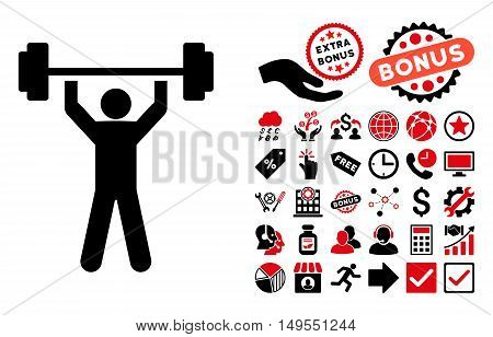 Power Lifting icon with bonus elements. Glyph illustration style is flat iconic bicolor symbols, intensive red and black colors, white background.