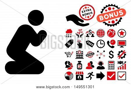 Pray Pose icon with bonus pictures. Glyph illustration style is flat iconic bicolor symbols, intensive red and black colors, white background.